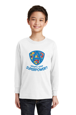 Image of What's your superpower - Gildan® Youth Heavy Cotton™ 100% Cotton Long Sleeve T-Shirt