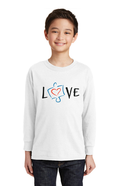 Image of Love, Autism Awareness - Gildan® Youth Heavy Cotton™ 100% Cotton Long Sleeve T-Shirt